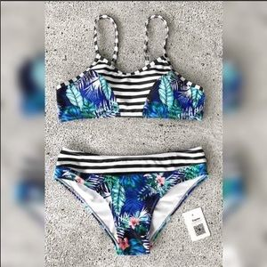 Floral and Stripe Bikini Set BNWT